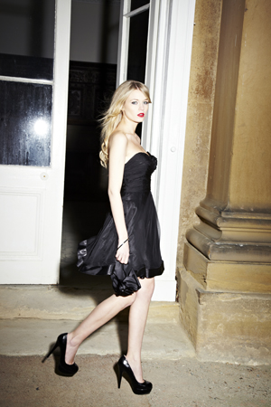Lot 10 - Strapless Black Cocktail Dress with Ruched Top Size 8