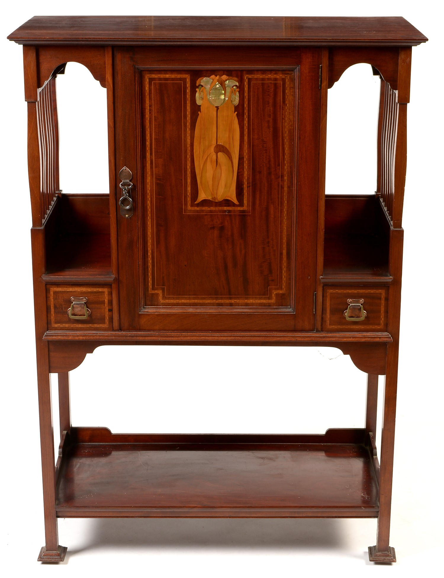Lot 1066 - Attributed to Shapland & Petter: an Art Nouveau inlaid mahogany music cabinet.