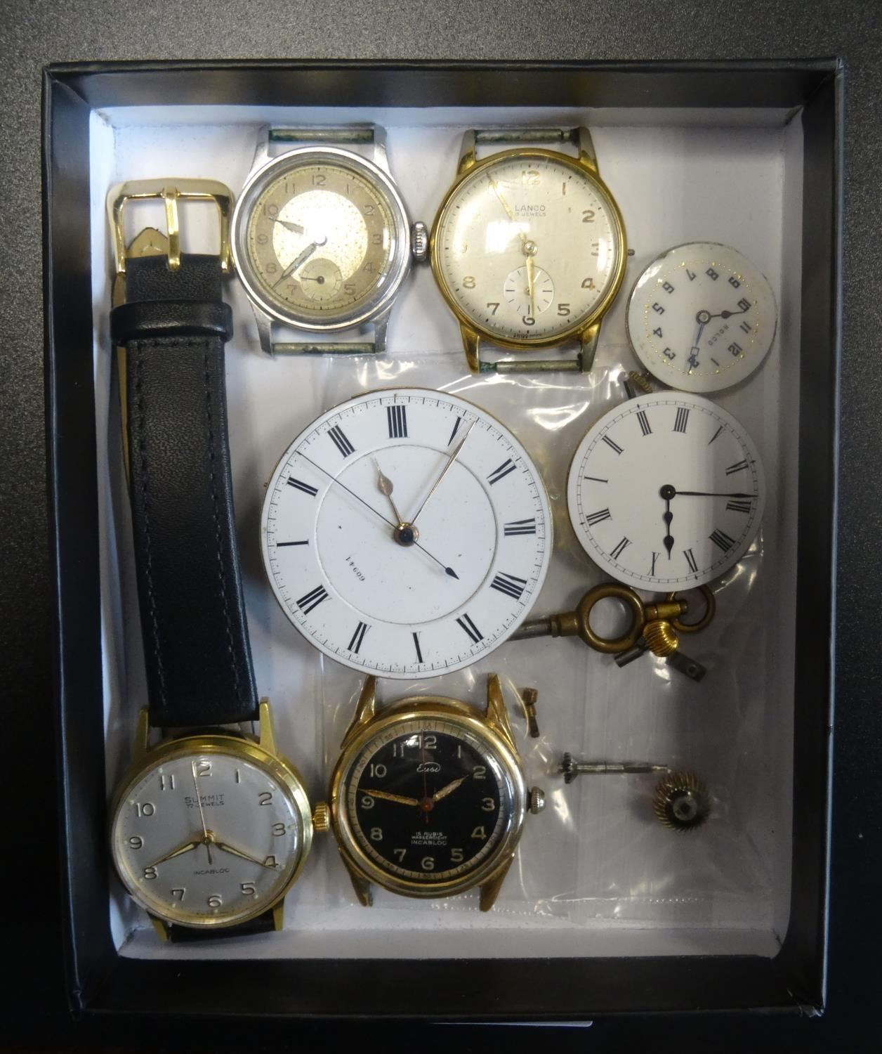 Lot 37 - SELECTION OF VINTAGE WATCHES, WATCH MOVEMENTS AND PARTS including a watch movement and dial, the