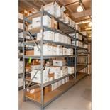 "(2) Sections Steel Racking, (3) 10' x 36"" Uprights, (24) 96"" 2150lb cap. Load Beams, No Contents"