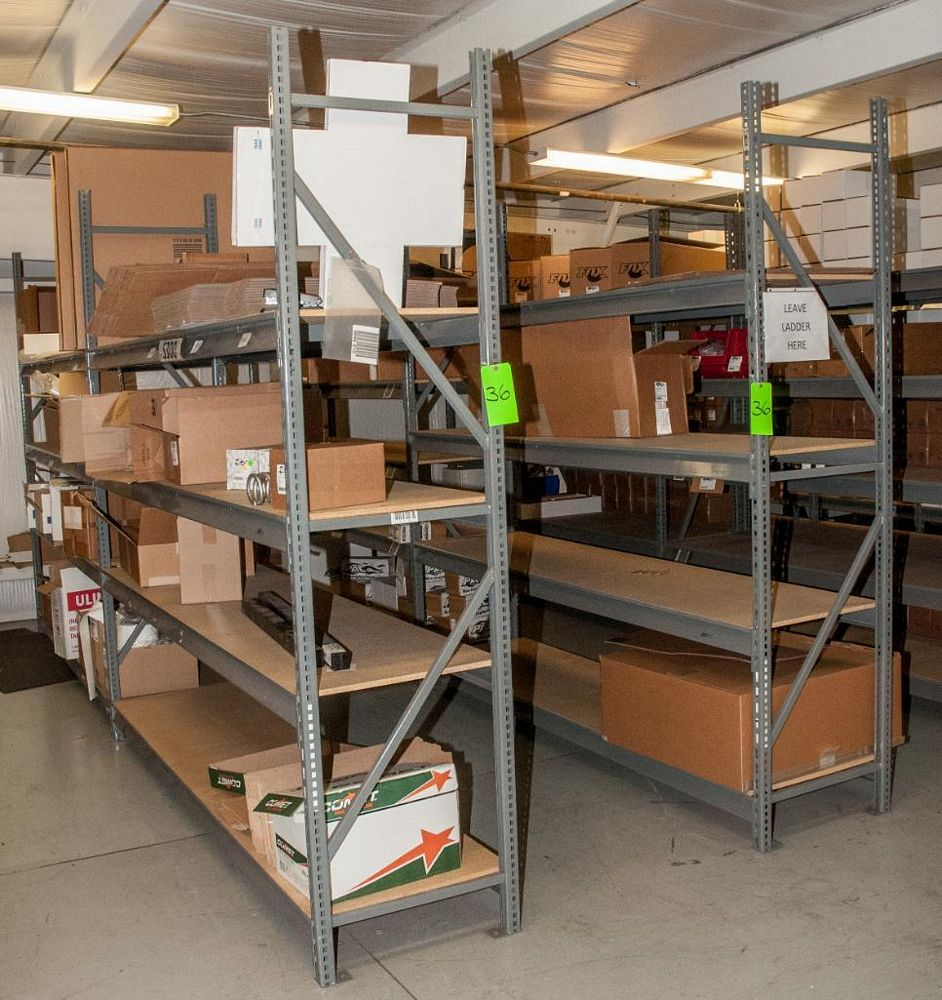 """(5) Sections Steel Racking, (2) 8' x 24"""" Uprights, (44) 96"""" 2150lb cap. Load Beams, No Contents (on"""