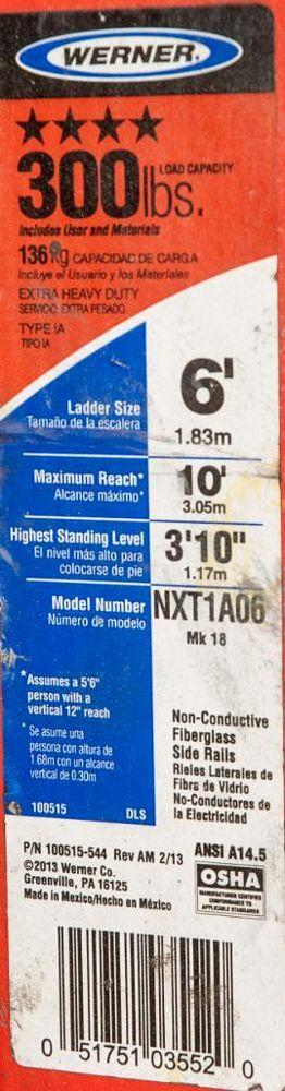 Werner 6' Fiberglass Step Ladder, 300 lb Cap. - Image 2 of 2