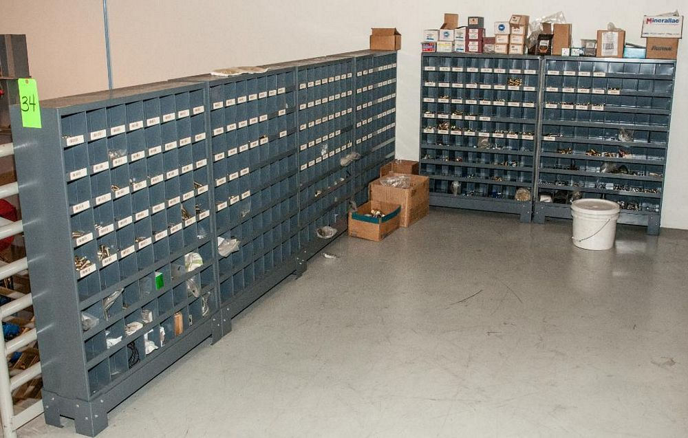 (6) Parts Bin Cabinets with Contents, Bolts, Washers Nuts, Most Grade 8 See Photos, Cabinets Have 72