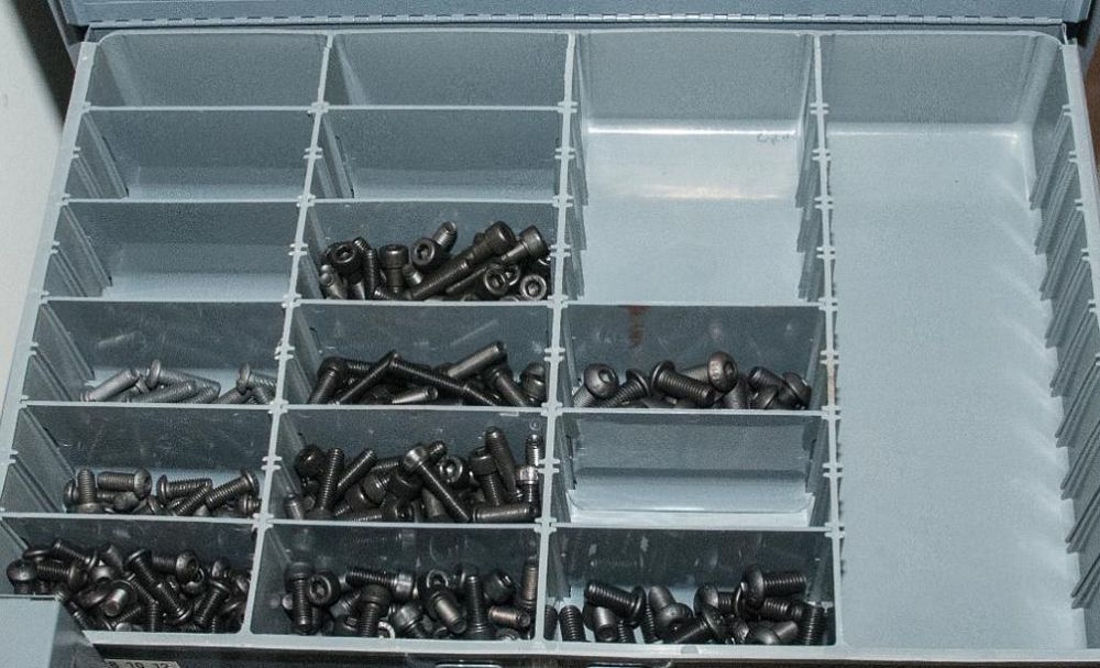 (3) Stacking cabinets of Hardware Drawers and Contents, screws etc, SAE and Metric, ea with (4) stor - Image 3 of 13