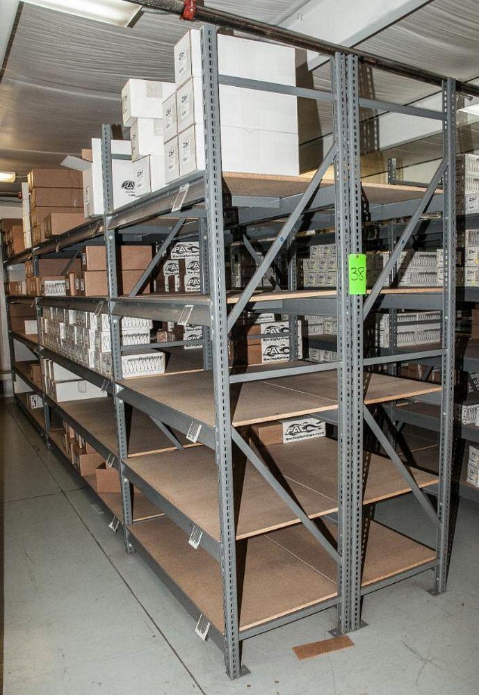 "(6) Sections Steel Racking, (8) 8' x 24"" Uprights, (20) 48"" 4150 lb cap. Load Beams(40) 96"" 2150lb c"