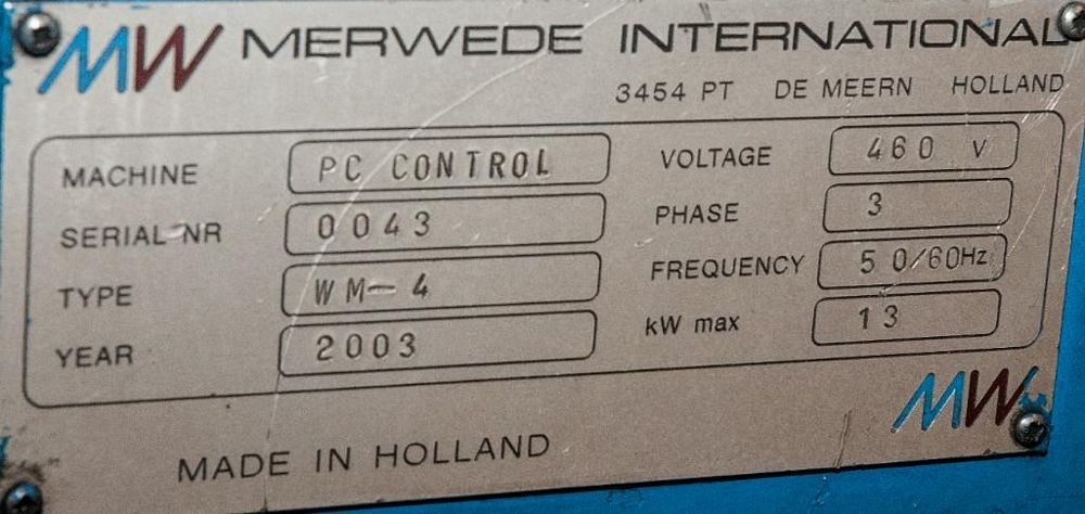 Merwede International PC Control Coiler, Type WM-4, 3 Jaw Chuck, s/n 0043 - Image 2 of 3