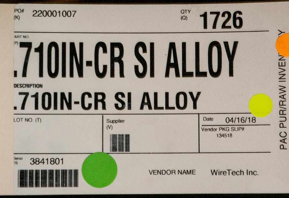 (2) Hats with coils CR SI Alloy .710 Diam. Steel, 3744 lbs. Total. According to tags, Inspect, See P - Image 2 of 3