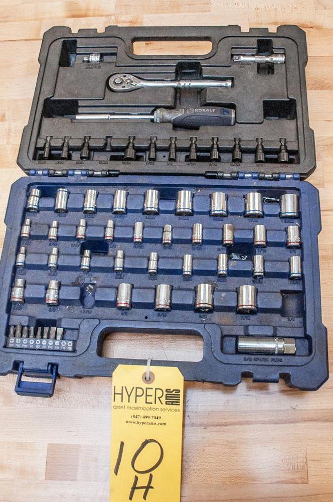 """Kobalt Socket Set in Case, Missing 7/16"""", 3/4"""" sockets and 10mm Nut Drive Bit"""