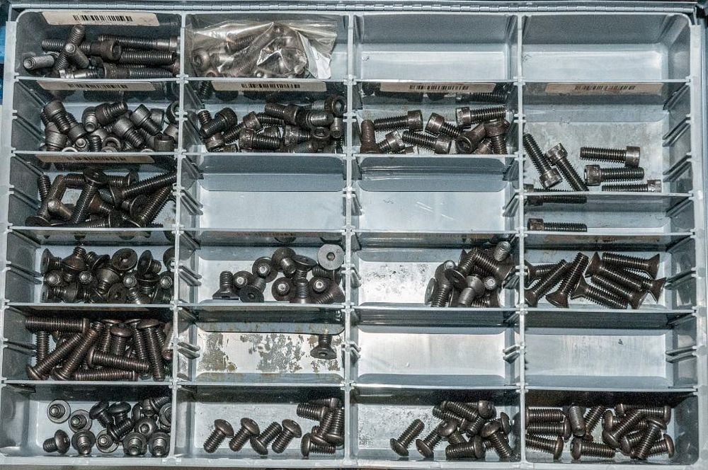 (3) Stacking cabinets of Hardware Drawers and Contents, screws etc, SAE and Metric, ea with (4) stor - Image 13 of 13
