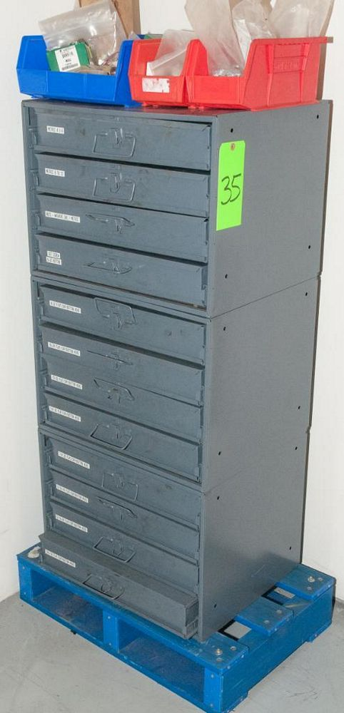 (3) Stacking cabinets of Hardware Drawers and Contents, screws etc, SAE and Metric, ea with (4) stor