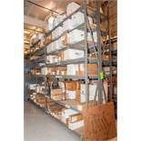 """(4) Sections Steel Racking, (6) approx 11 1/2' x 18"""" Uprights, (56) 96"""" 2150lb cap. Load Beams, No C"""