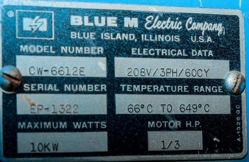 Blue M Oven Model CW-6612E, s/n EP-1322, 10kw, 1/3 hp, 208v 3ph. - Image 2 of 3