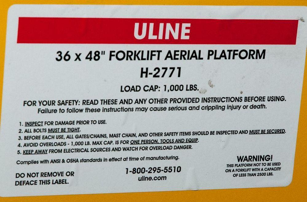 """Uline Man Basket for Forklift 36 x 48"""" Mdl. H2771, 1000 lb. Cap. - Image 2 of 2"""