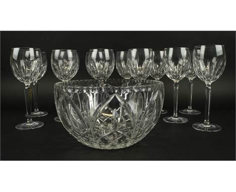 WATERFORD CUT CRYSTAL WINE GLASSES, a set of twelve along with a cut glass bowl. (13)