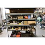 LOT - SHELVING W/ CONTENTS, ASSORTED ABRASIVES