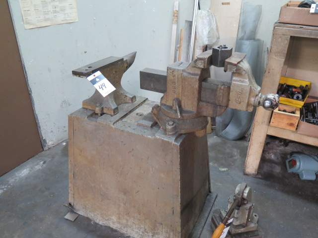 "Lot 49 - Anvil and 6"" Bench Vise w/ Stand"