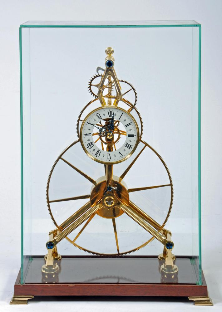 Great wheel skeleton clock quot 20th century the four wheel train with