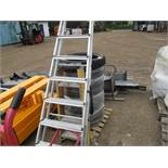 8 RUNG ALUMINIUM LADDER PLUS ANOTHER SHORT ONE....EX COMPANY LIQUIDATION