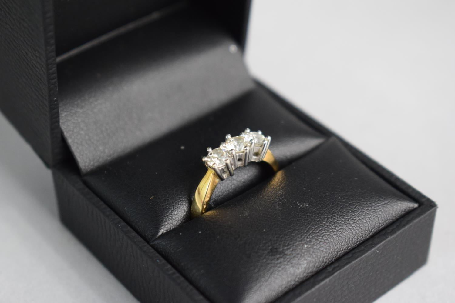 Lot 308 - A 9ct Gold Diamond Trilogy Ring, Each Diamond Approx .25 of a Carat on Visual Inspection. Size L.5