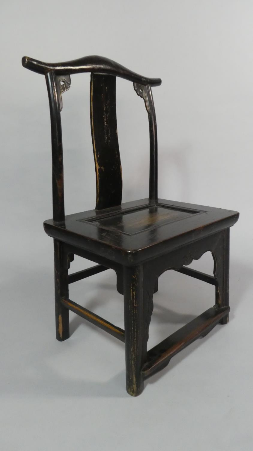 A Pair of 19th Century Ebonised Chinese Scholar's Chairs of Ming Design. - Image 2 of 5