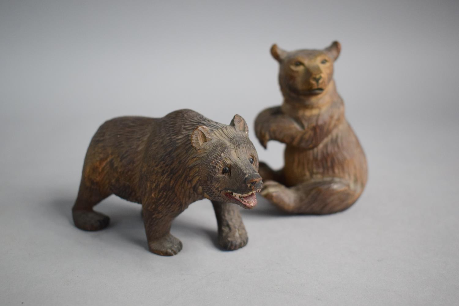 Two Small Carved Black Forest Bears