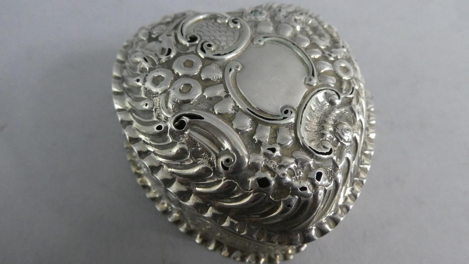 Two Heart Shaped Silver Boxes and a Silver Heart Shaped Pin Dish - Image 6 of 10