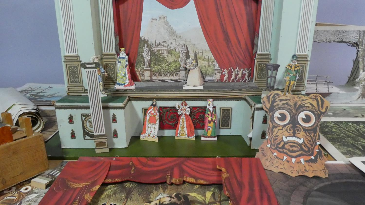 Lot 56 - A Large Toy Theatre in Wood and Coloured Card with Large Quantity of Scenery, Backdrops, Safety