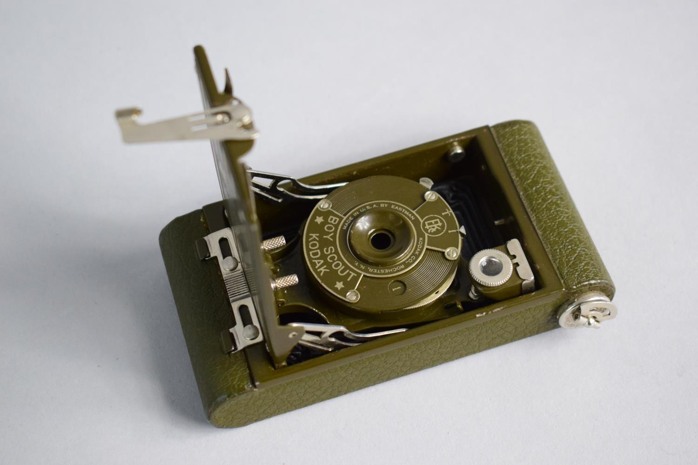 Lot 8 - A Vintage Leather Cased Boy Scout Bellows Camera by Kodak