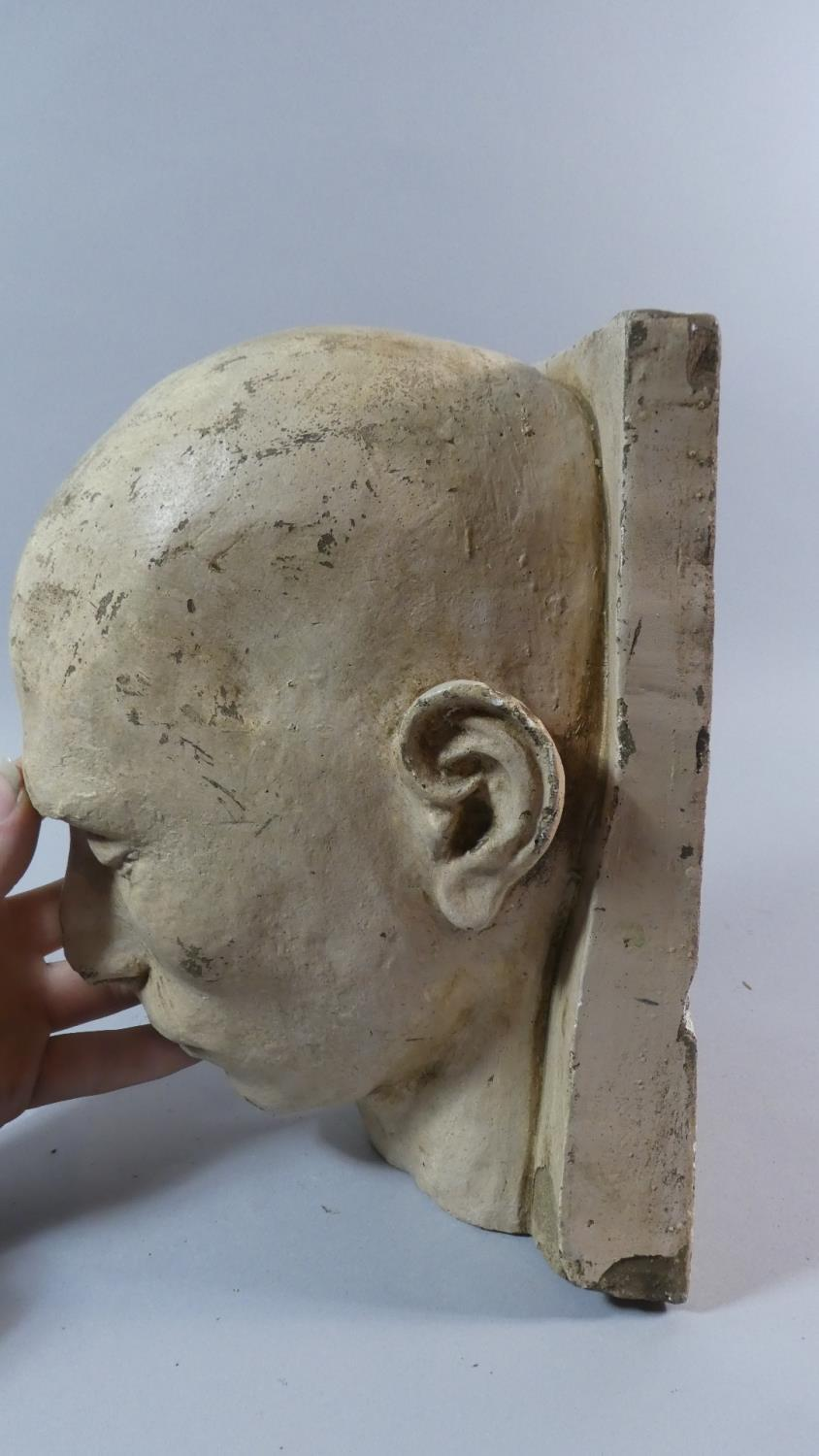 A 19th Century Plaster Death Mask of a Shaven Headed Man, Possibly a Convict or Asylum Inmate. - Image 5 of 7