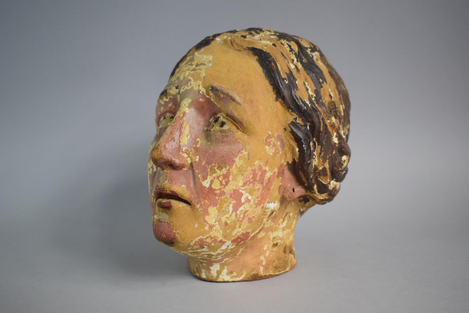 Lot 39 - A 19th Century Carved Wooden Bust of a Maiden with Traces of Original Paint. Probably Italian. 21cms