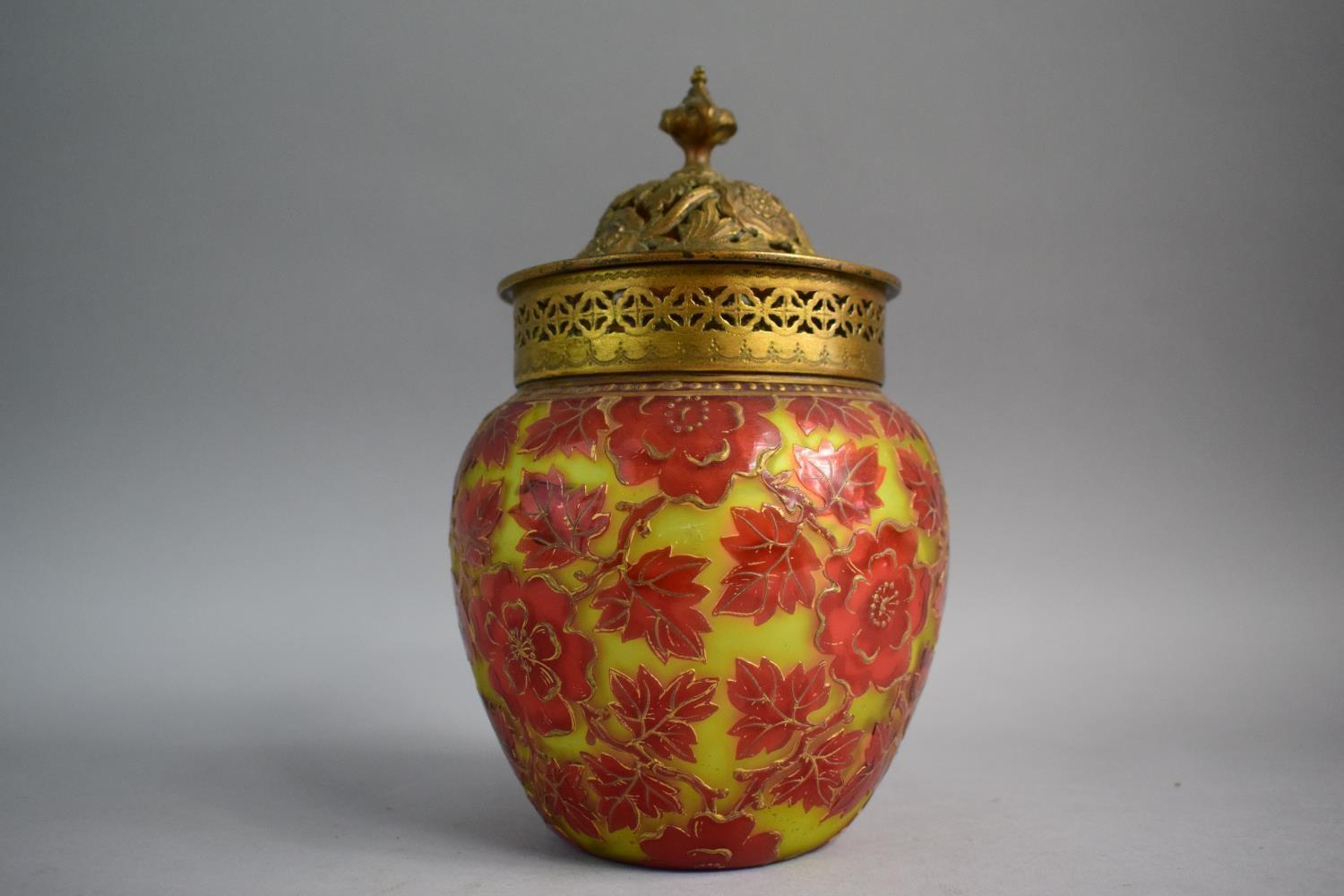 Lot 365 - A Late 19th Century Harrach Cameo Glass Pot Pourri with Pierced Gilt Metal Collar and Lid, 22.5cm