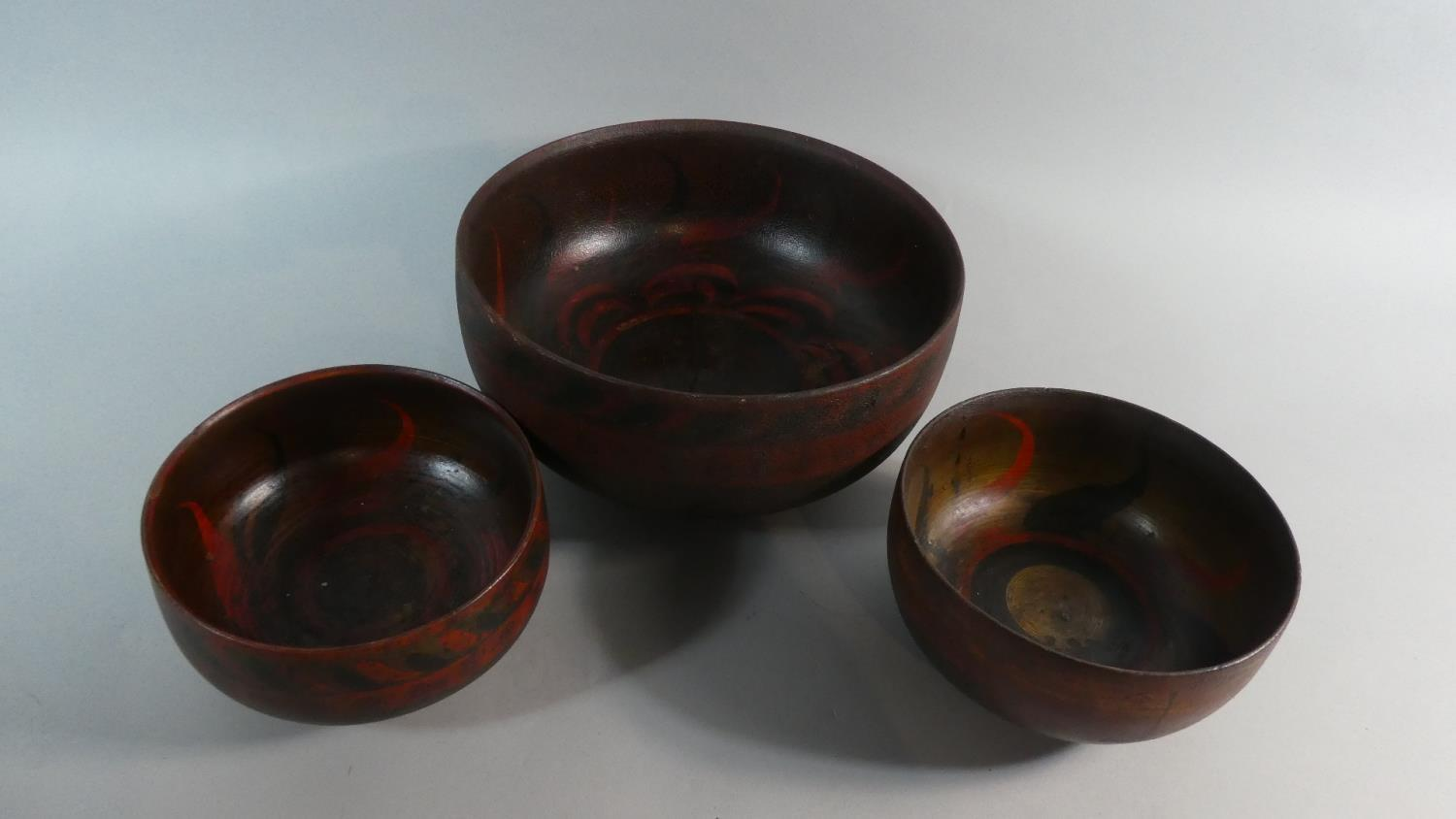A Collection of Three Early 20th Century Indonesian Wooden Bowls with Original Polychrome Painted - Image 2 of 5