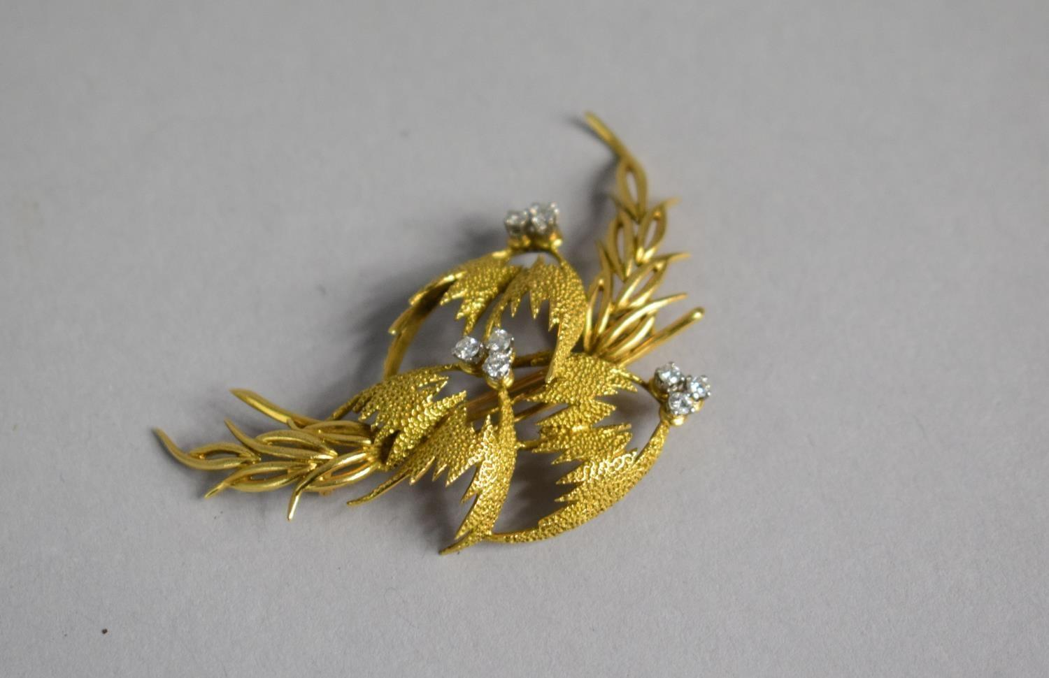 Lot 329 - A French 18ct Gold and Diamond Modernist Spray Brooch, 9 Small Diamonds Mounted in Trio Formation in