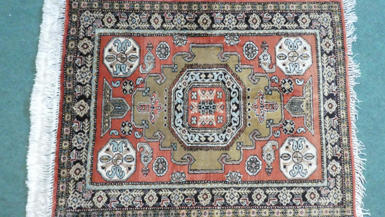 A Persian Hand Made Silk Qum Rug. 74x58 - Image 2 of 2