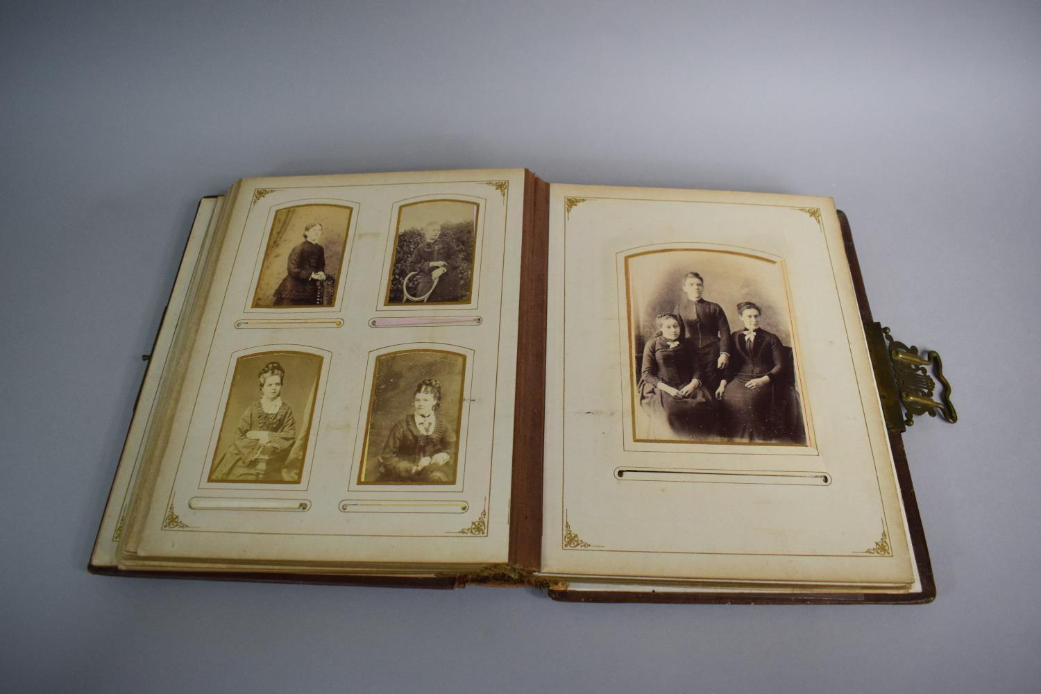 Lot 4 - A Tooled Leather Bound Victorian Photograph Album Containing Photos of Welsh Family