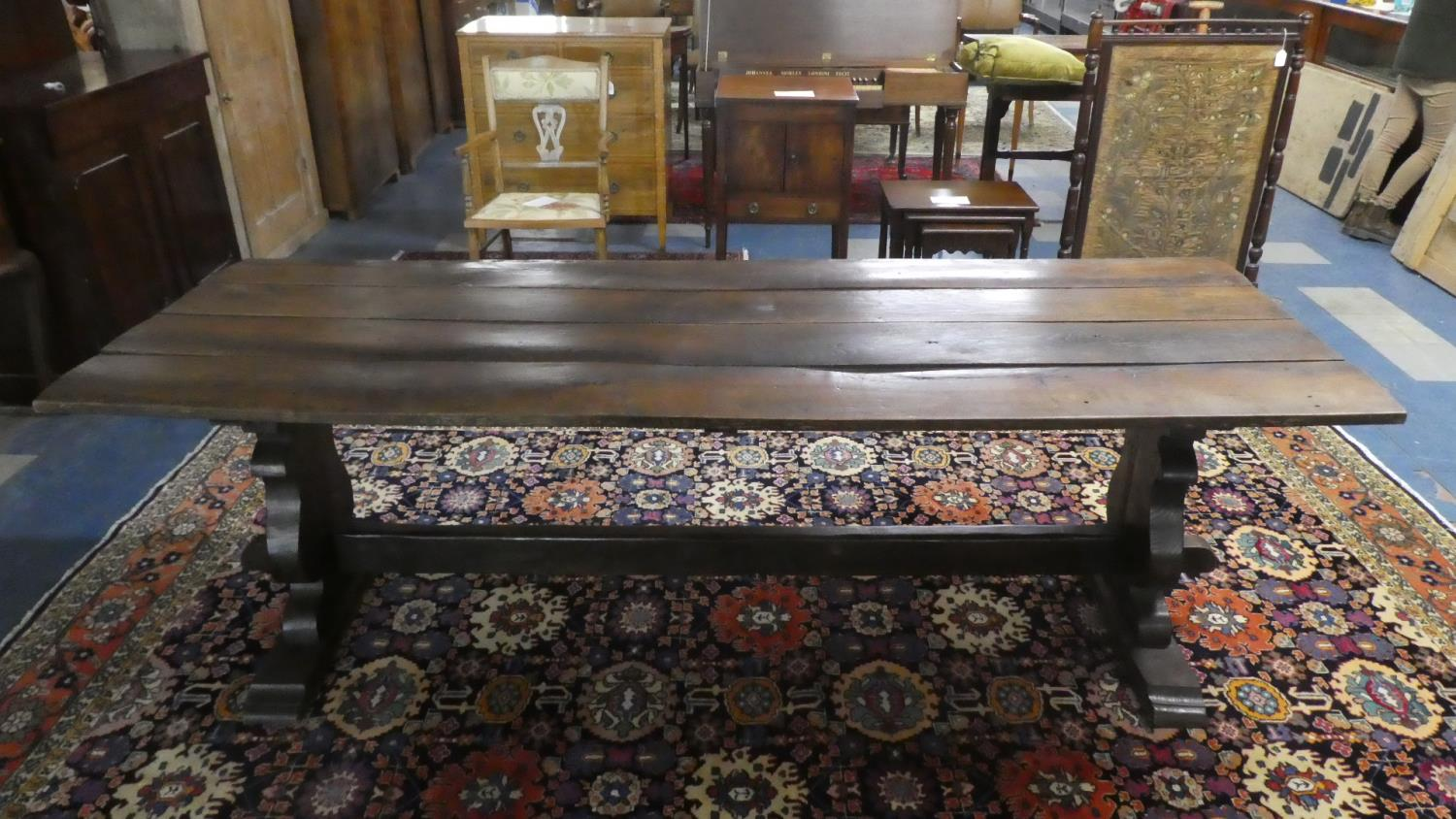 A Four Plank Oak Refectory Style Dining Table. 218cms Long
