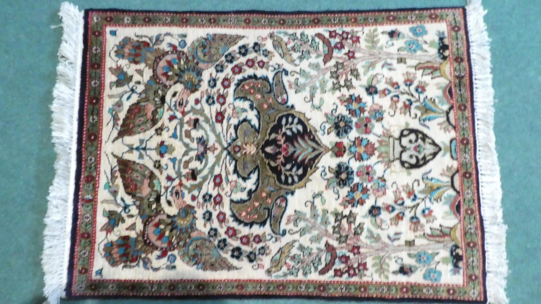 A Persian Hand Made Silk Qum Rug. 77x56cms - Image 2 of 2