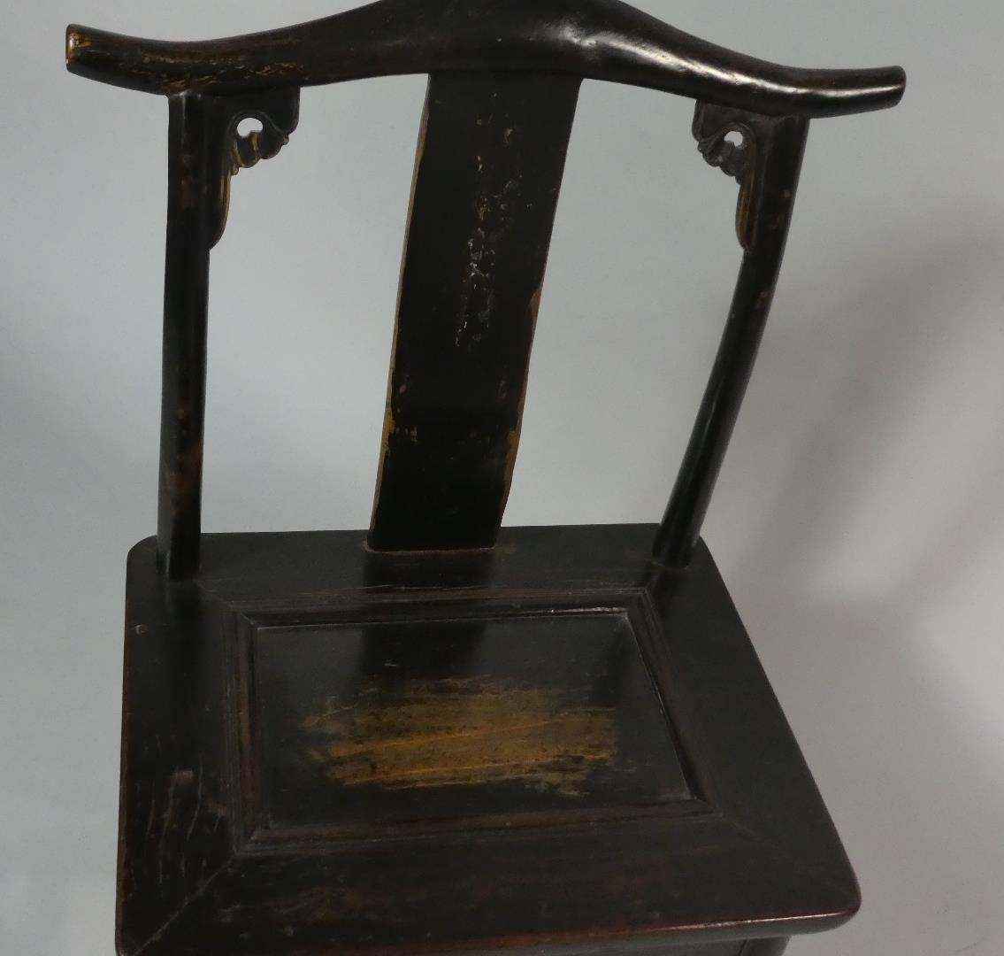 A Pair of 19th Century Ebonised Chinese Scholar's Chairs of Ming Design. - Image 4 of 5