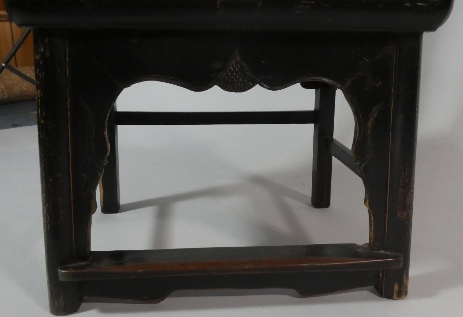 A Pair of 19th Century Ebonised Chinese Scholar's Chairs of Ming Design. - Image 3 of 5