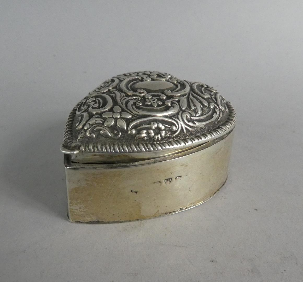 Two Heart Shaped Silver Boxes and a Silver Heart Shaped Pin Dish - Image 2 of 10