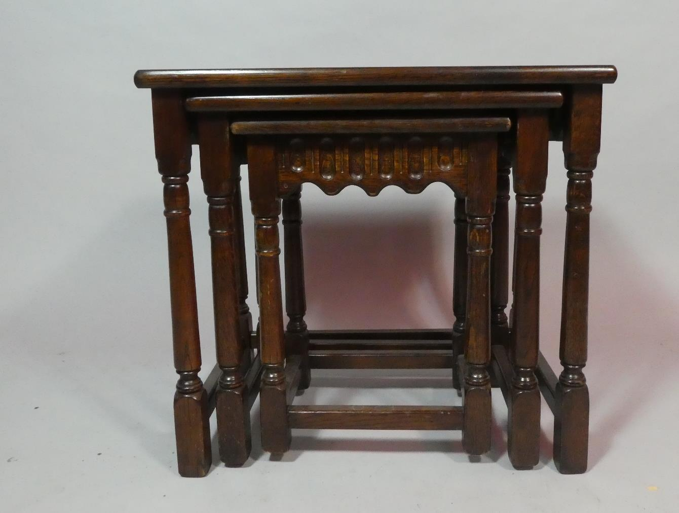A Small Late 20th Century Oak Nest of Tables