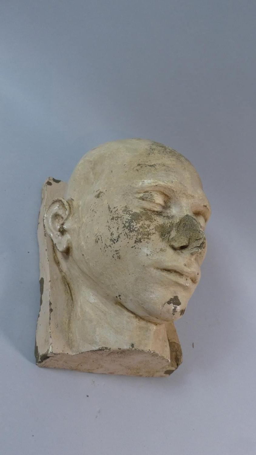 A 19th Century Plaster Death Mask of a Shaven Headed Man, Possibly a Convict or Asylum Inmate.