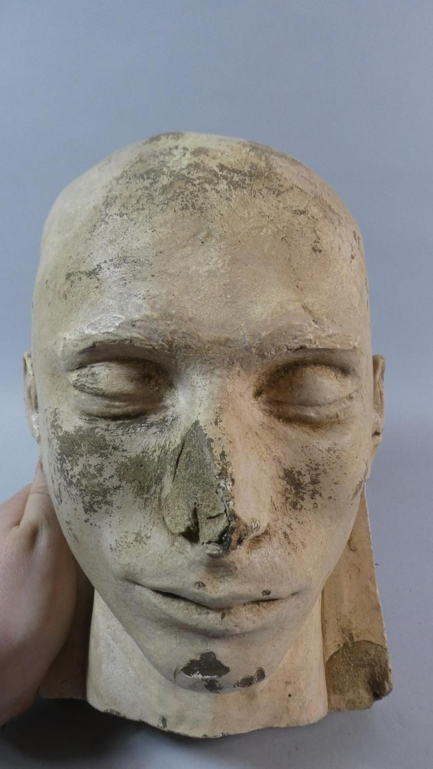 A 19th Century Plaster Death Mask of a Shaven Headed Man, Possibly a Convict or Asylum Inmate. - Image 2 of 7