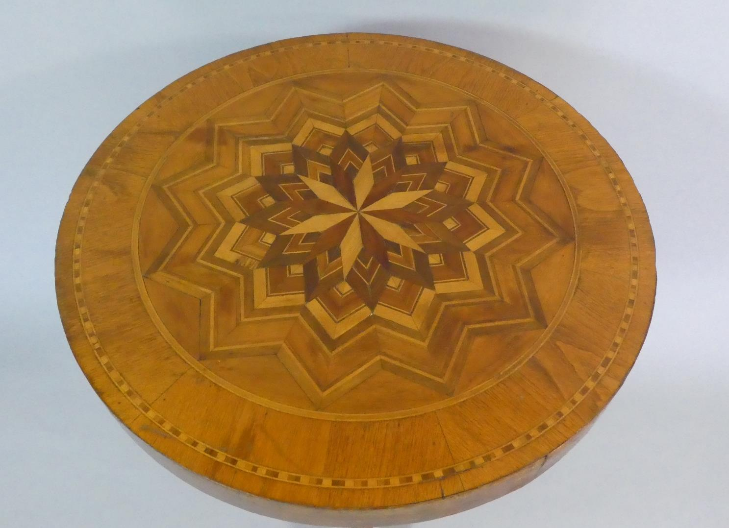 A Late 19th/Early 20th Century Italian Sorrento Ware Pedestal Table with a Parquetry Starburst - Image 2 of 2