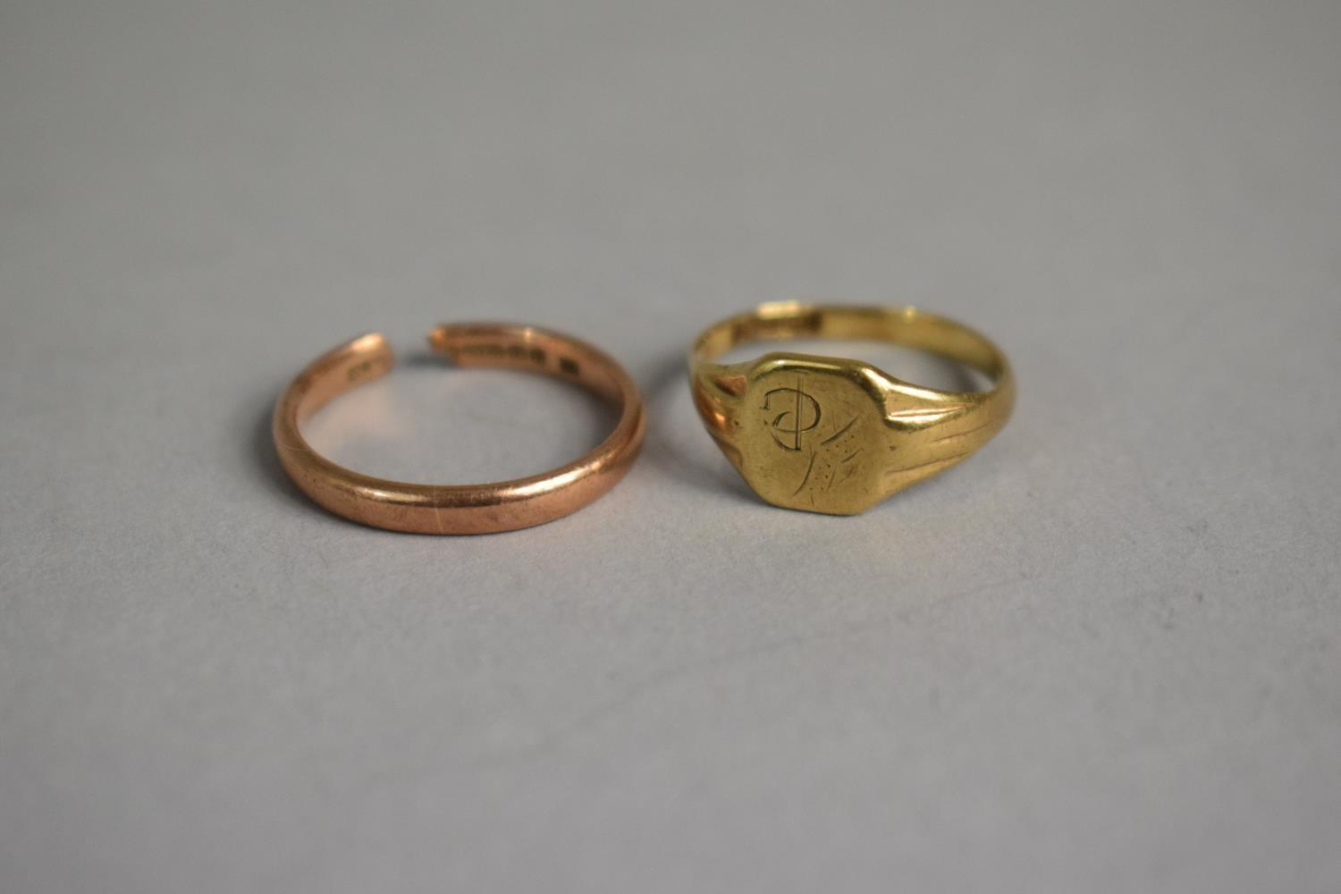 Lot 314 - Two 9ct Gold Rings, One with Damage and the other Bent Out of Shape, 4.4gms Total