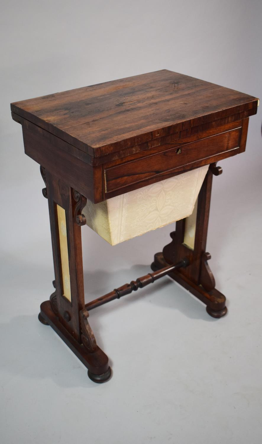 Lot 40 - A Regency Work Table having Tooled Leather Work Top, Drawer and Pull Out Well Under. 53x38x73