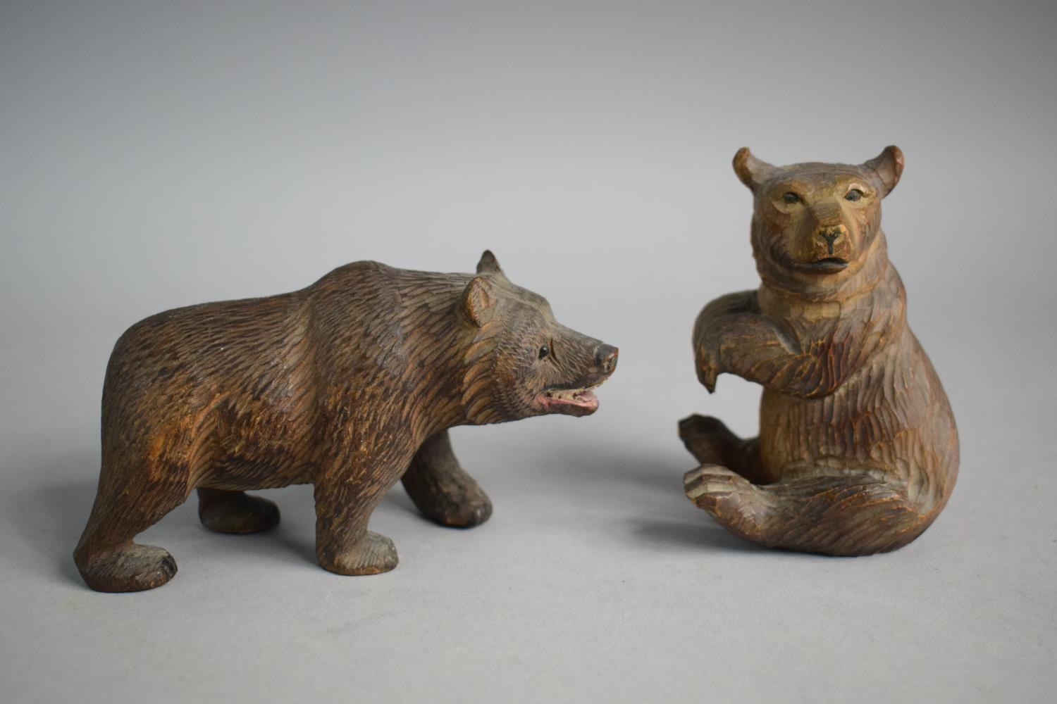 Two Small Carved Black Forest Bears - Image 2 of 4