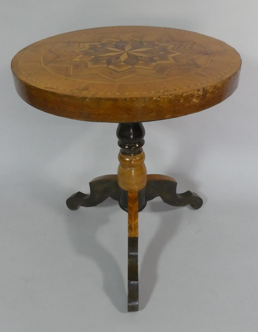 A Late 19th/Early 20th Century Italian Sorrento Ware Pedestal Table with a Parquetry Starburst