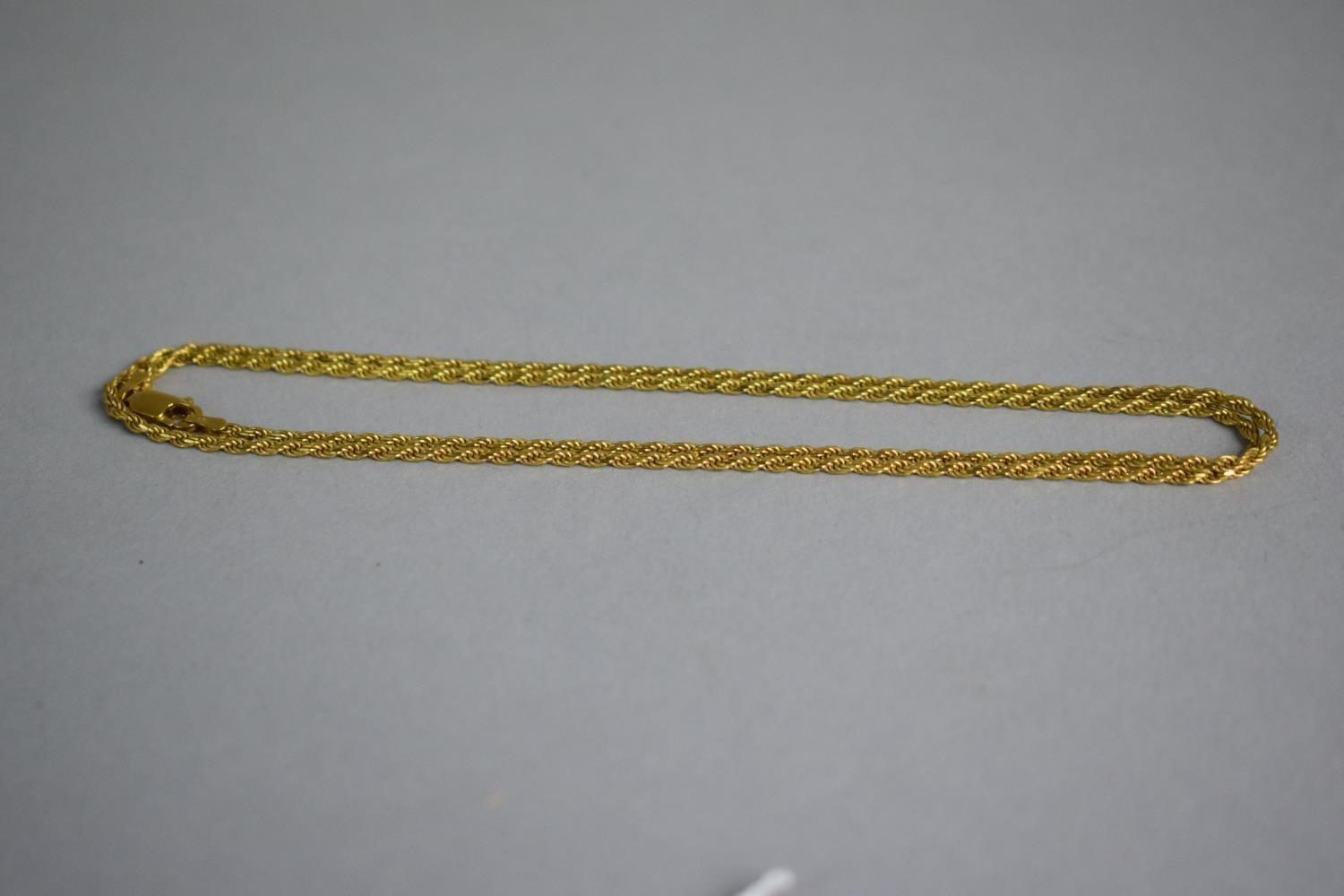 Lot 321 - A 9ct Gold Rope Necklace Chain, 7.4gms