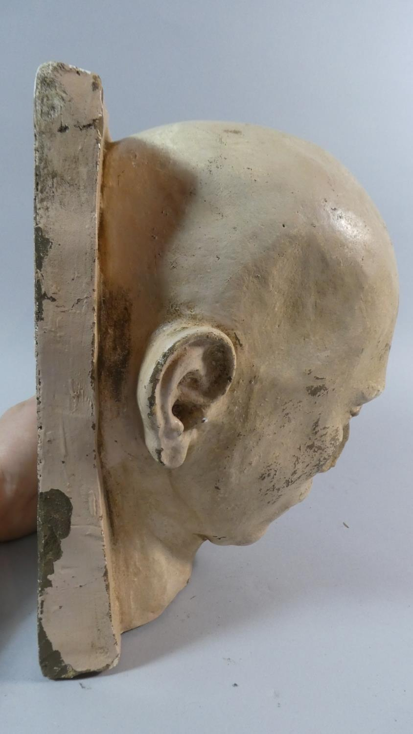 A 19th Century Plaster Death Mask of a Shaven Headed Man, Possibly a Convict or Asylum Inmate. - Image 3 of 7